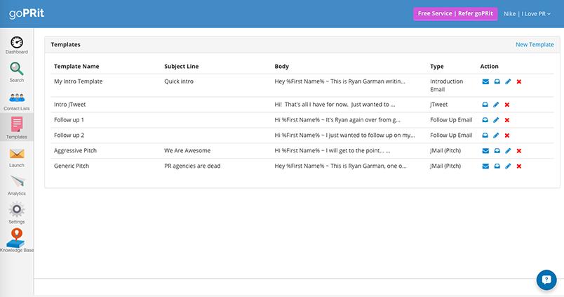 goprit templates screenshot