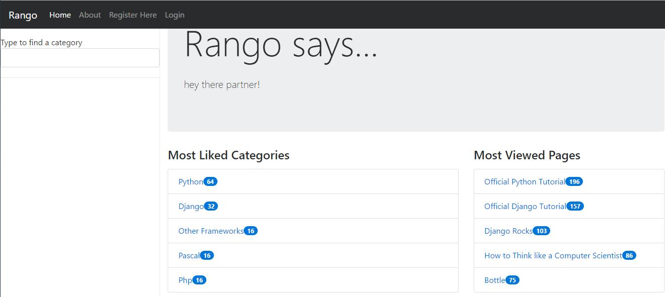 rango application tango with django home screen