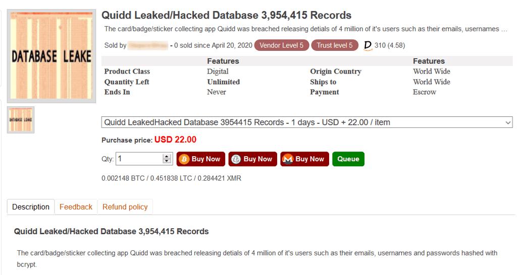 Data base leak in Empire Market