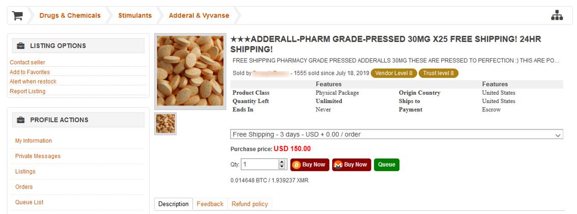 A drug sale on Empire Market